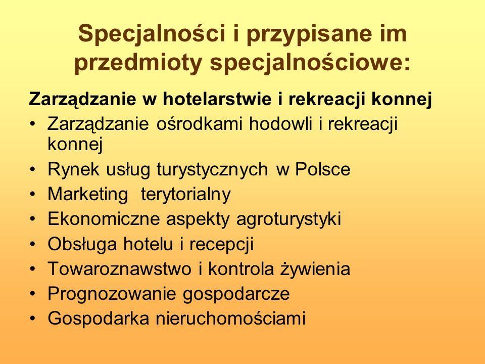 Specjalności i przypisane im przedmioty specjalnościowe: