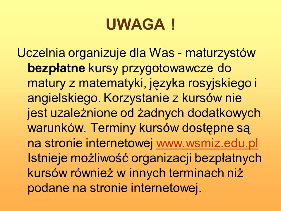 UWAGA !