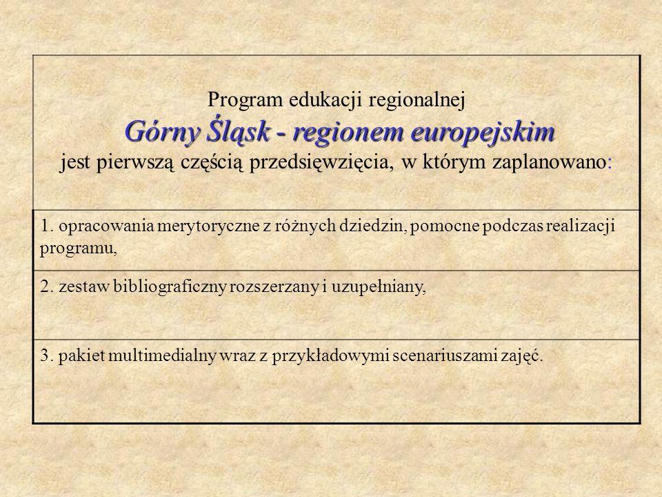 Program edukacji regionalnej Górny Śląsk - regionem europejskim