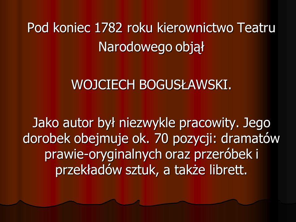 Pod koniec 1782 roku kierownictwo Teatru