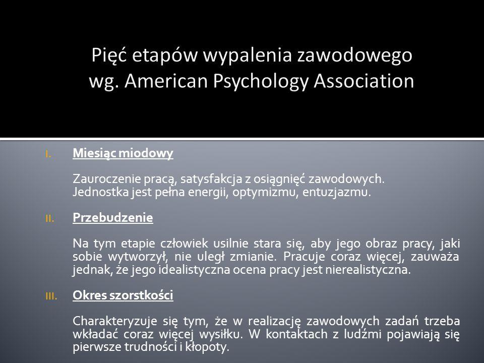 Pięć etapów wypalenia zawodowego wg. American Psychology Association
