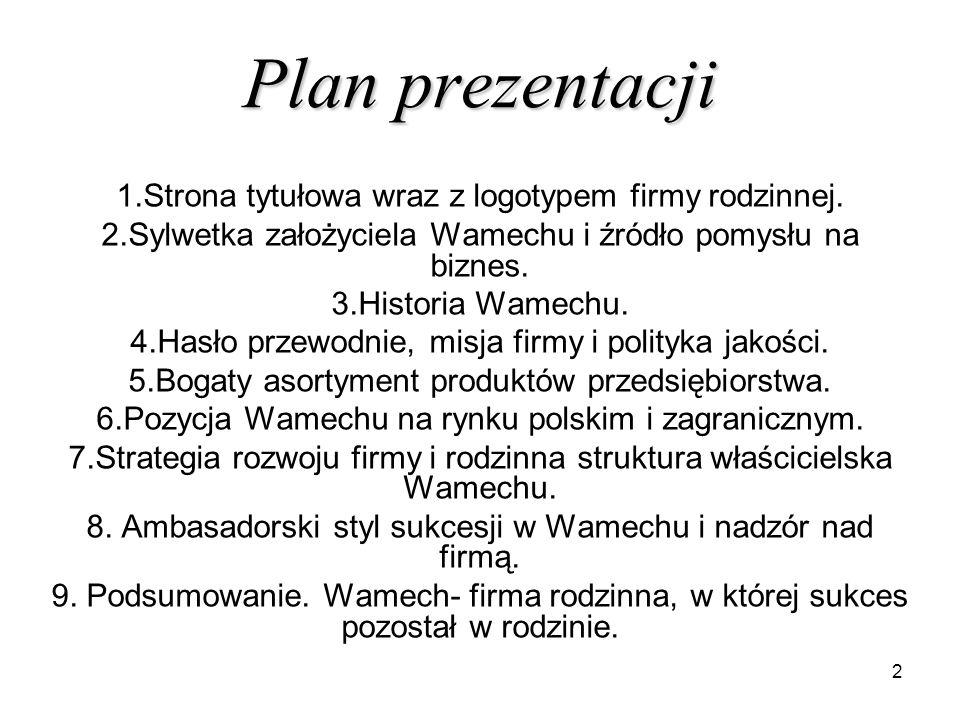 Plan prezentacji 1.Strona tytułowa wraz z logotypem firmy rodzinnej.
