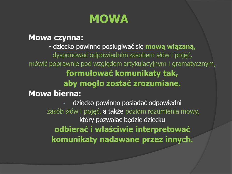 MOWA Mowa czynna: formułować komunikaty tak,