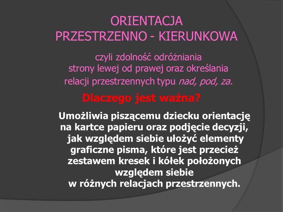 ORIENTACJA PRZESTRZENNO - KIERUNKOWA