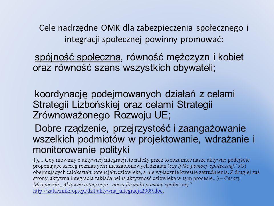 Cele nadrzędne OMK dla zabezpieczenia społecznego i integracji społecznej powinny promować: