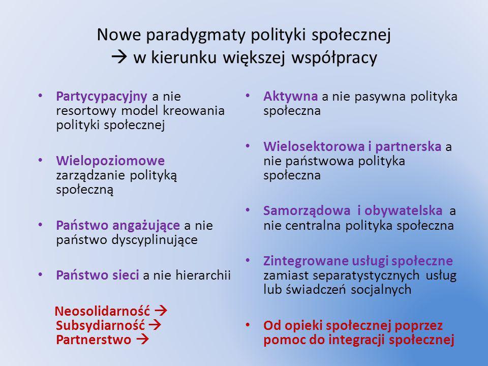 Nowe paradygmaty polityki społecznej  w kierunku większej współpracy