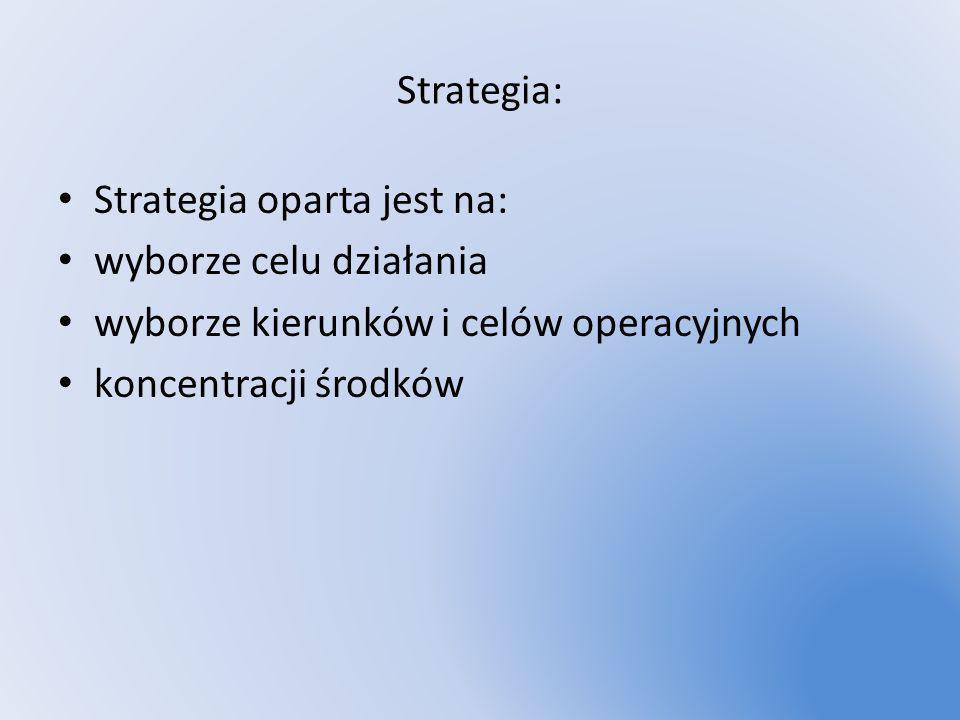 Strategia: Strategia oparta jest na: wyborze celu działania. wyborze kierunków i celów operacyjnych.