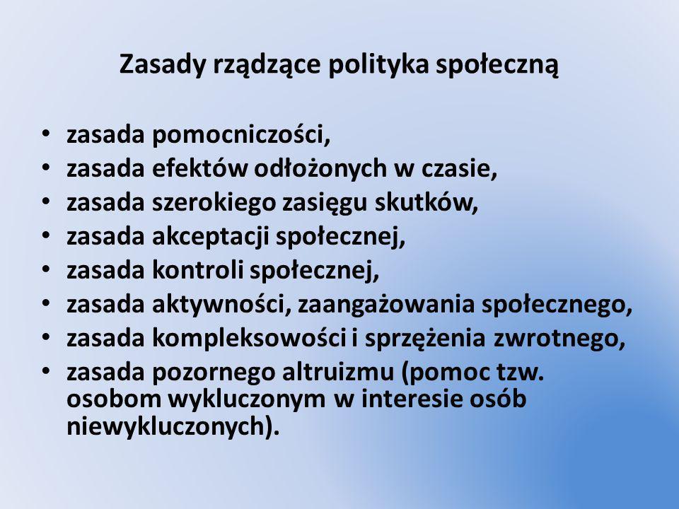 Zasady rządzące polityka społeczną