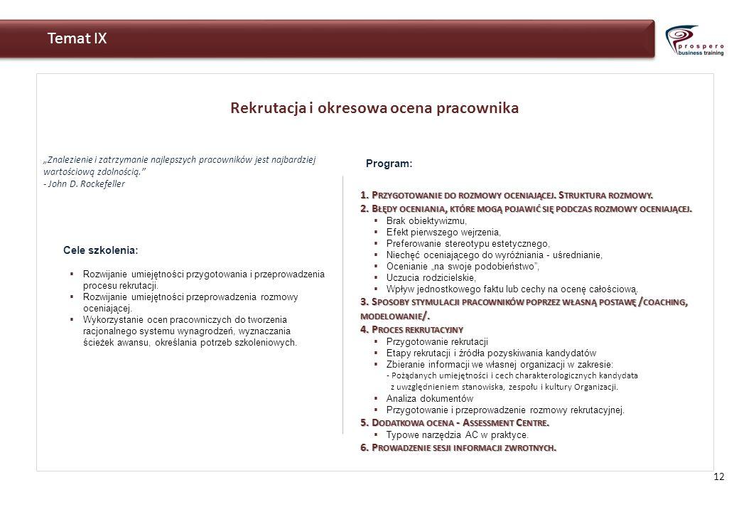 Rekrutacja i okresowa ocena pracownika