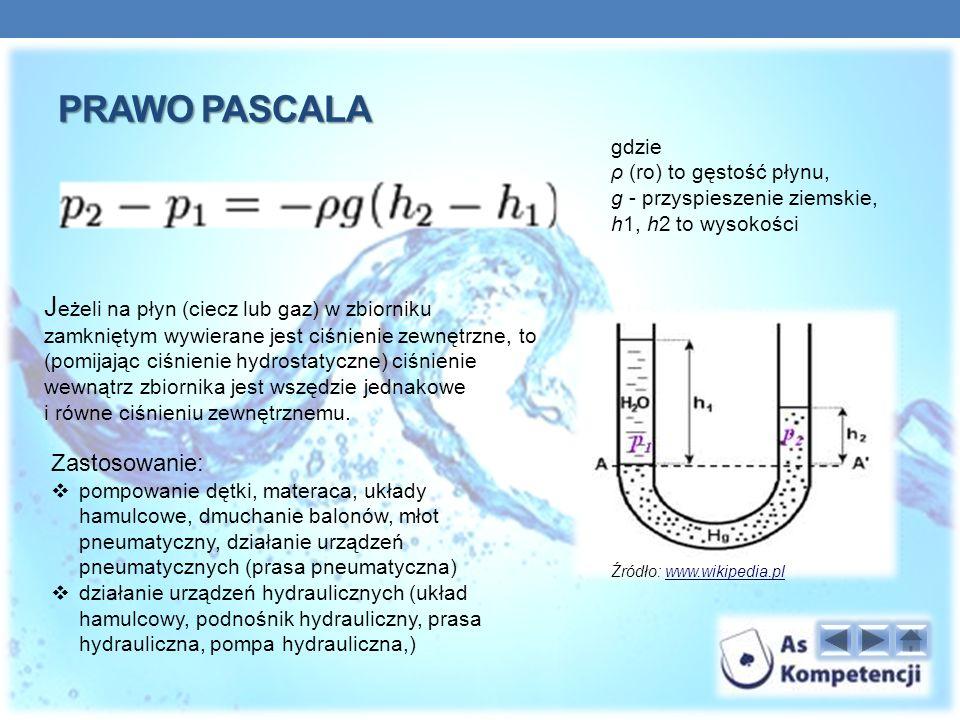 Prawo pascala gdzie. ρ (ro) to gęstość płynu, g - przyspieszenie ziemskie, h1, h2 to wysokości.