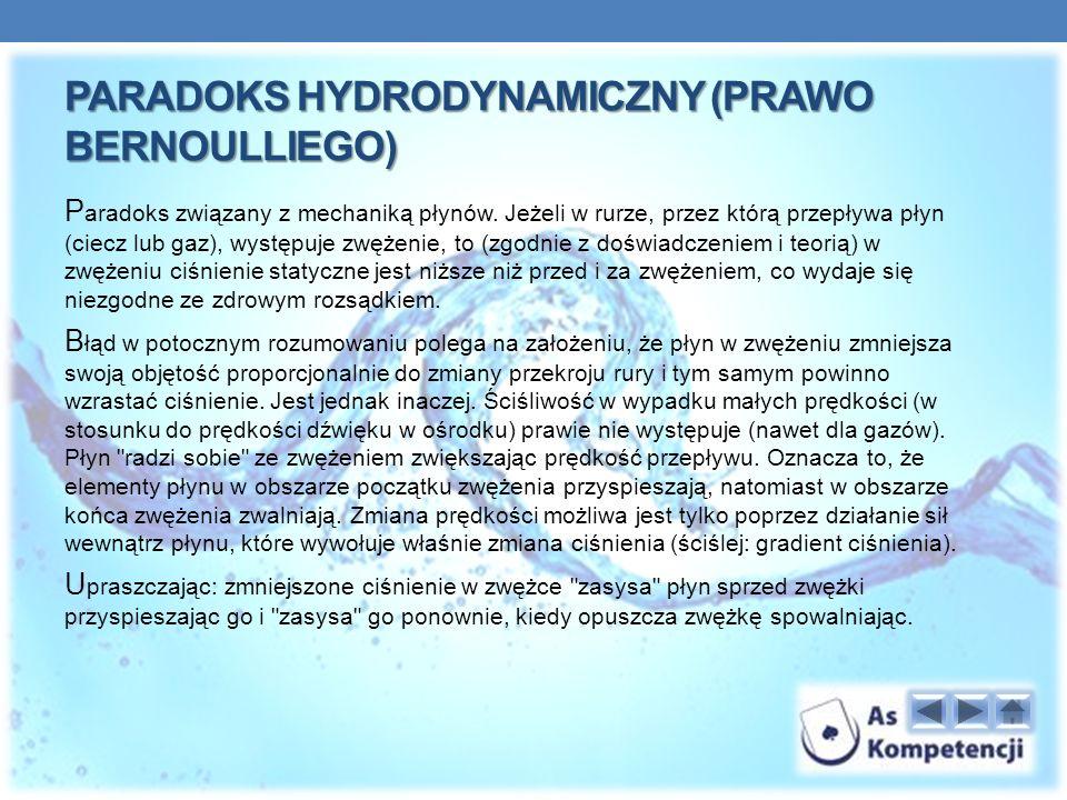 Paradoks hydrodynamiczny (prawo Bernoulliego)