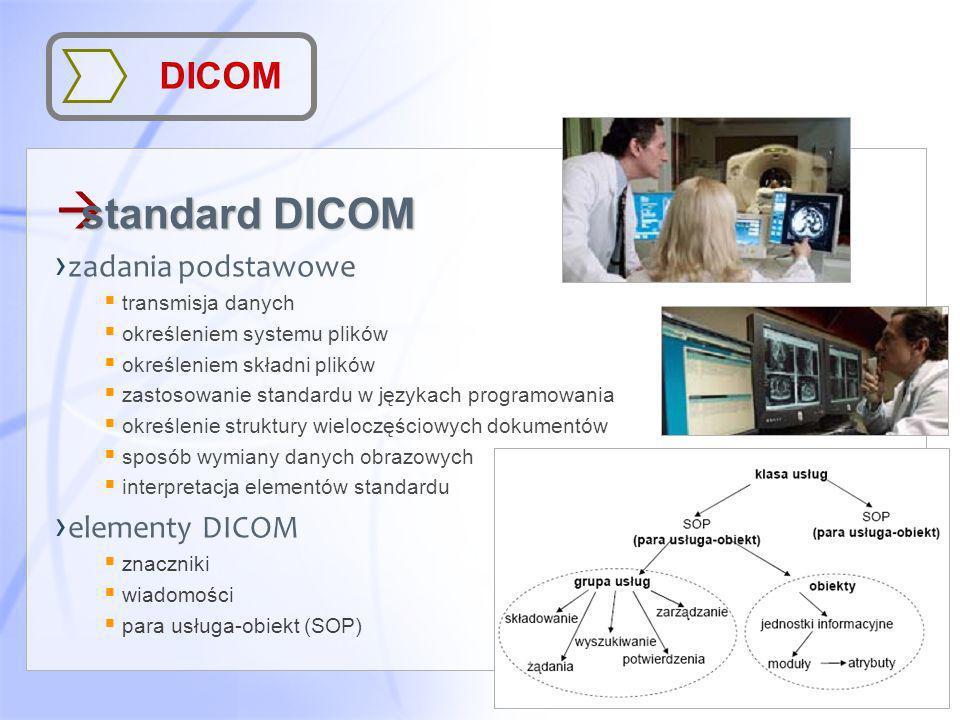 standard DICOM DICOM zadania podstawowe elementy DICOM