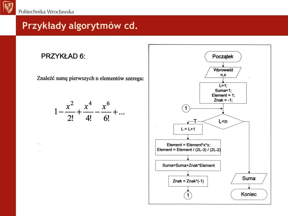Przykłady algorytmów cd.