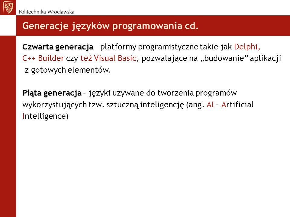 Generacje języków programowania cd.