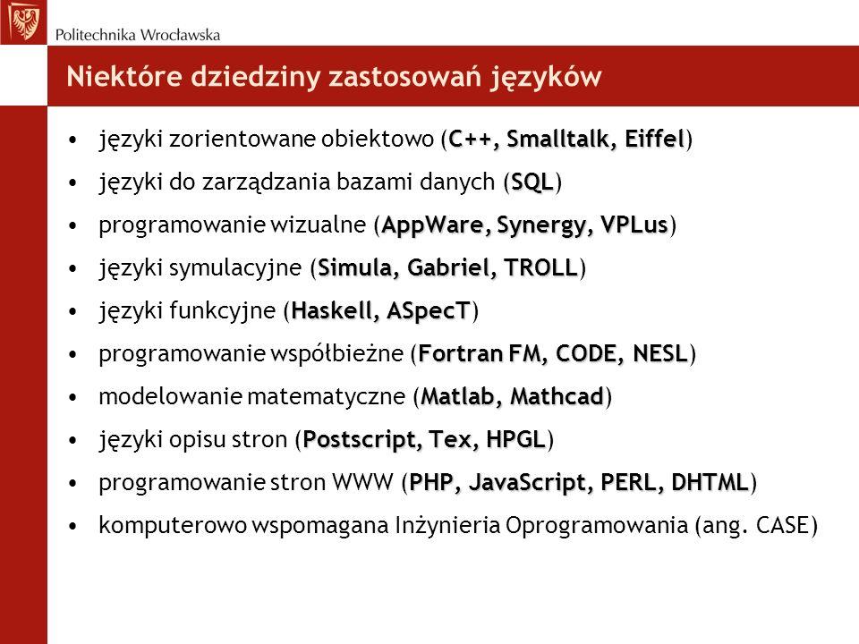 Niektóre dziedziny zastosowań języków