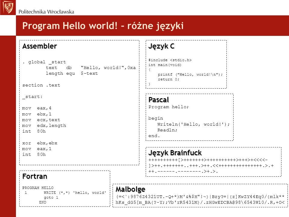 Program Hello world! – różne języki