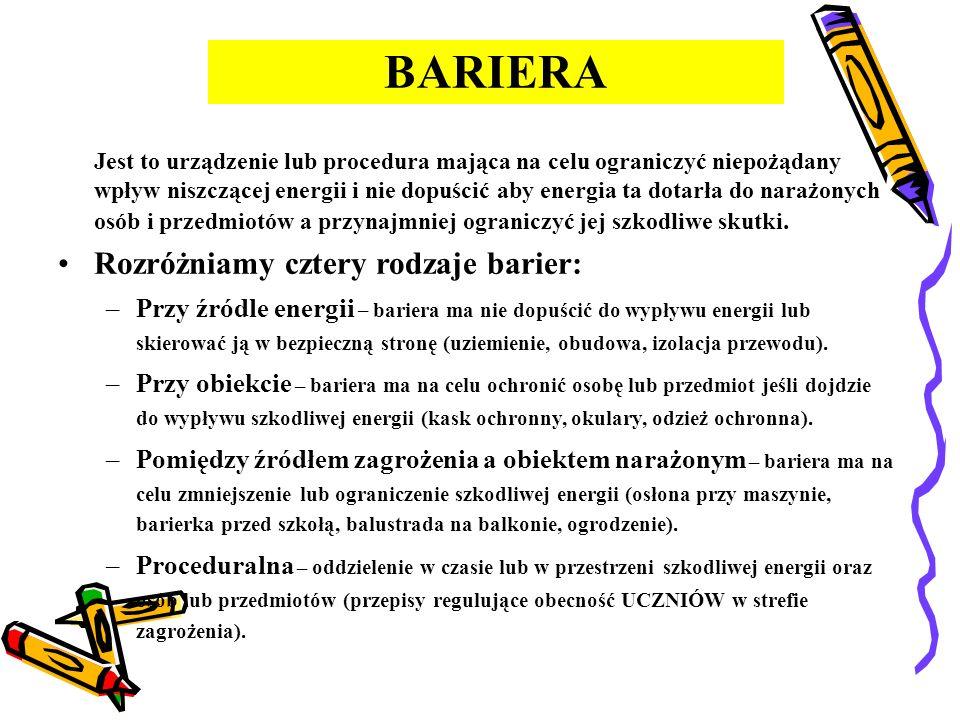 BARIERA Rozróżniamy cztery rodzaje barier: