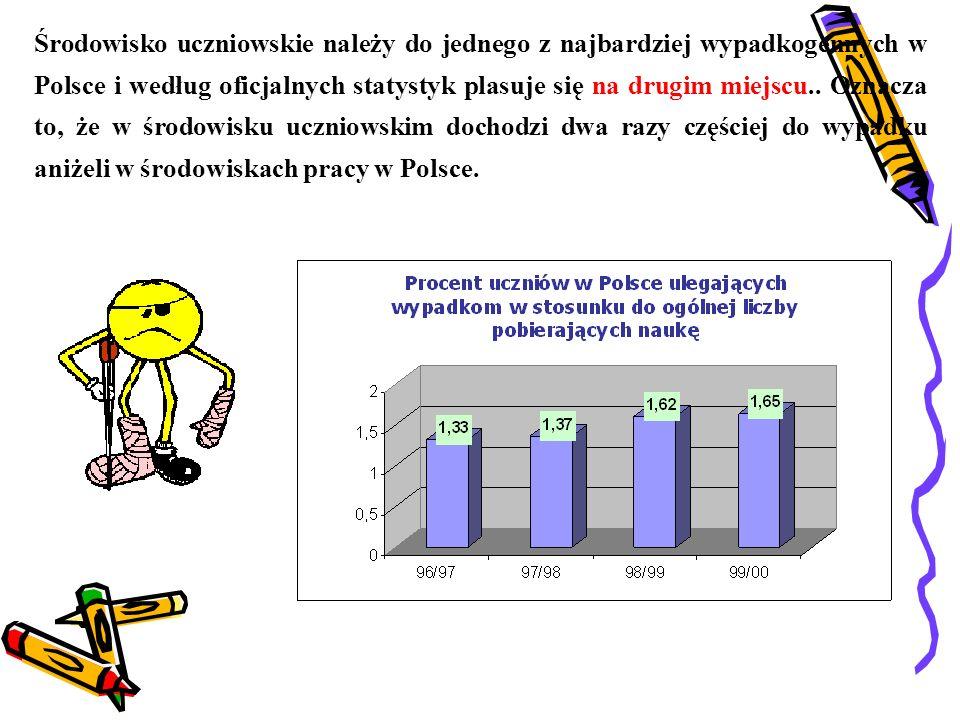 Środowisko uczniowskie należy do jednego z najbardziej wypadkogennych w Polsce i według oficjalnych statystyk plasuje się na drugim miejscu..