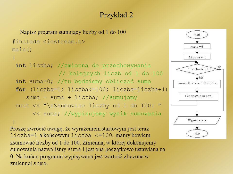 Przykład 2 Napisz program sumujący liczby od 1 do 100