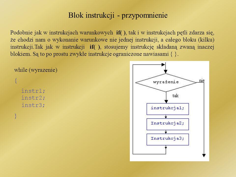 Blok instrukcji - przypomnienie