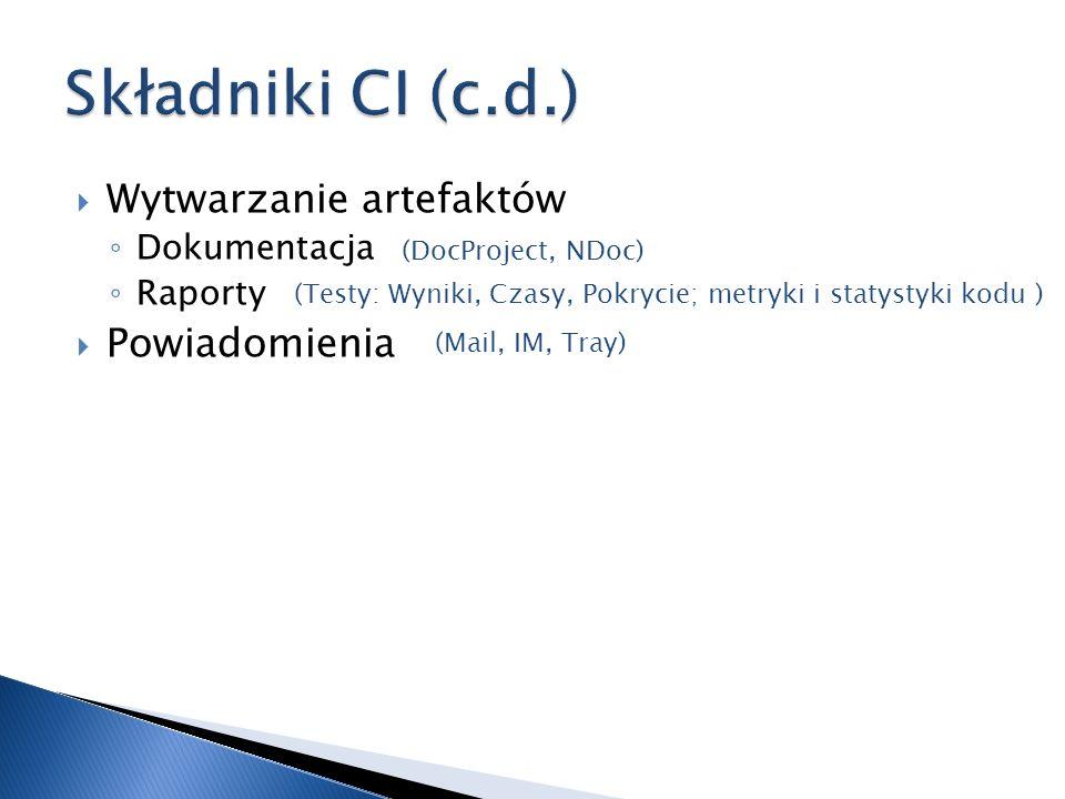 Składniki CI (c.d.) Wytwarzanie artefaktów Powiadomienia Dokumentacja
