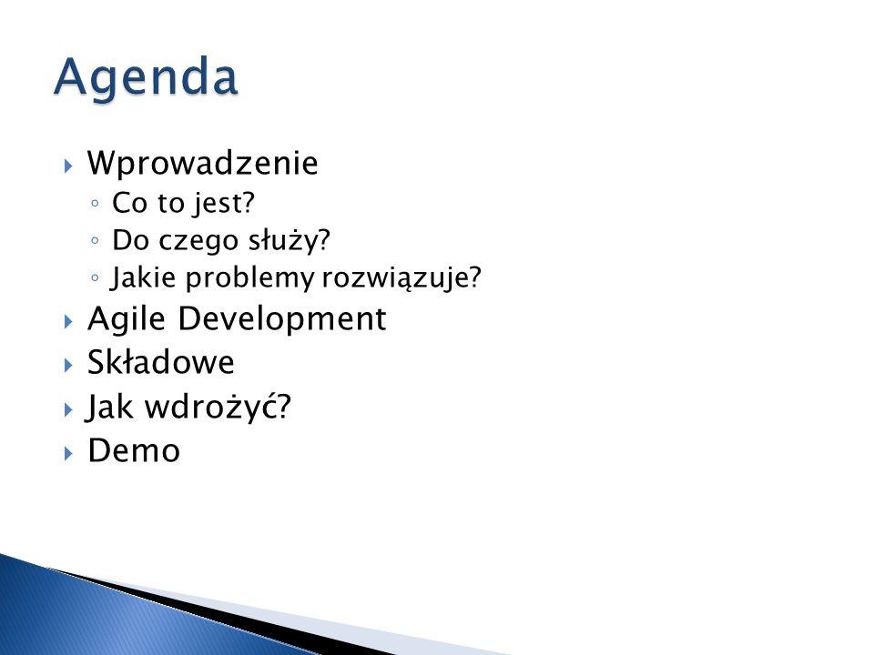 Agenda Wprowadzenie Agile Development Składowe Jak wdrożyć Demo