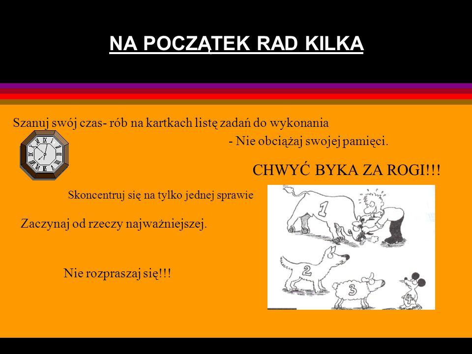 NA POCZĄTEK RAD KILKA CHWYĆ BYKA ZA ROGI!!!
