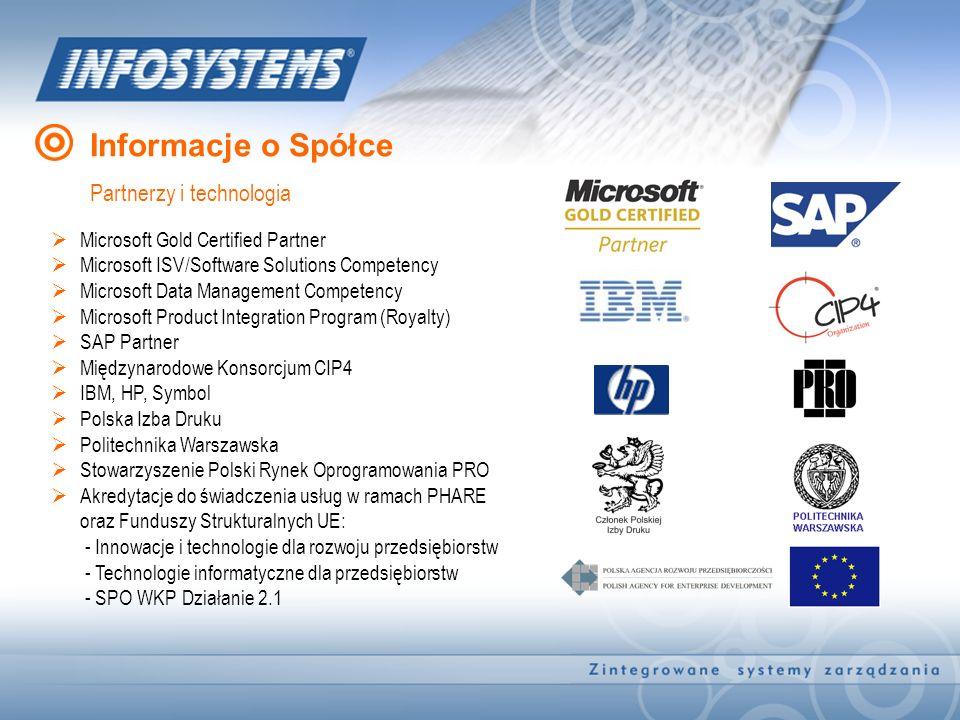 Informacje o Spółce Partnerzy i technologia