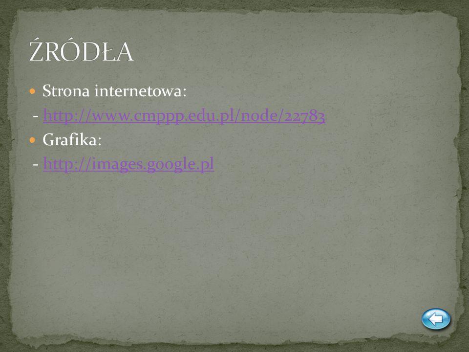 ŹRÓDŁA Strona internetowa: - http://www.cmppp.edu.pl/node/22783