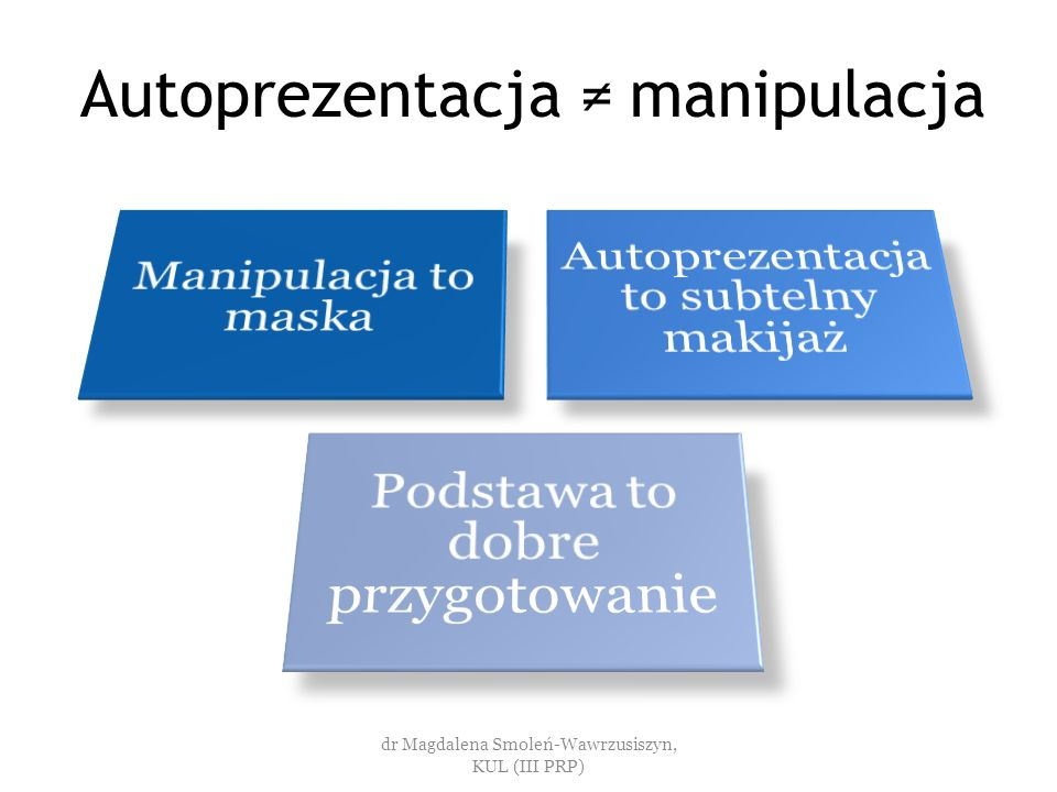 Autoprezentacja ≠ manipulacja