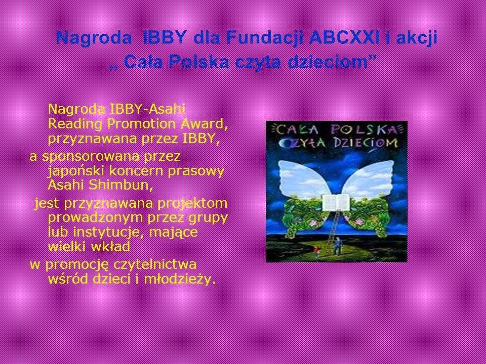 """Nagroda IBBY dla Fundacji ABCXXI i akcji """" Cała Polska czyta dzieciom"""