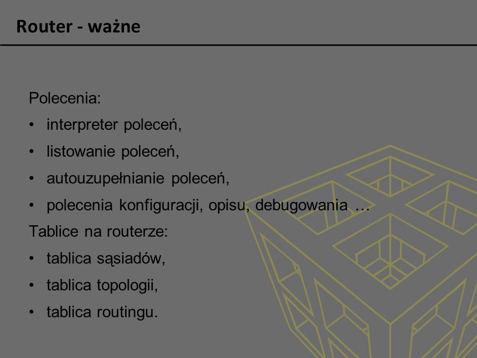 Router - ważne Polecenia: interpreter poleceń, listowanie poleceń,