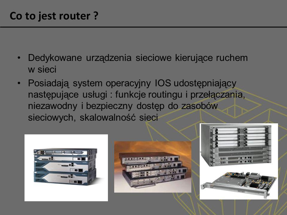 Co to jest router Dedykowane urządzenia sieciowe kierujące ruchem w sieci.