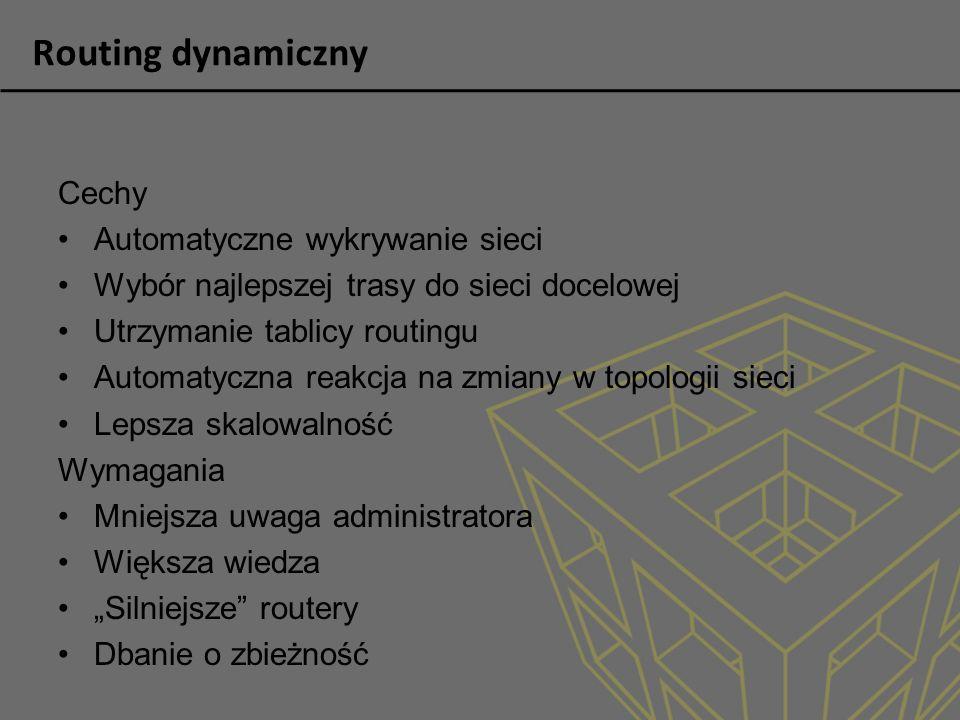 Routing dynamiczny Cechy Automatyczne wykrywanie sieci