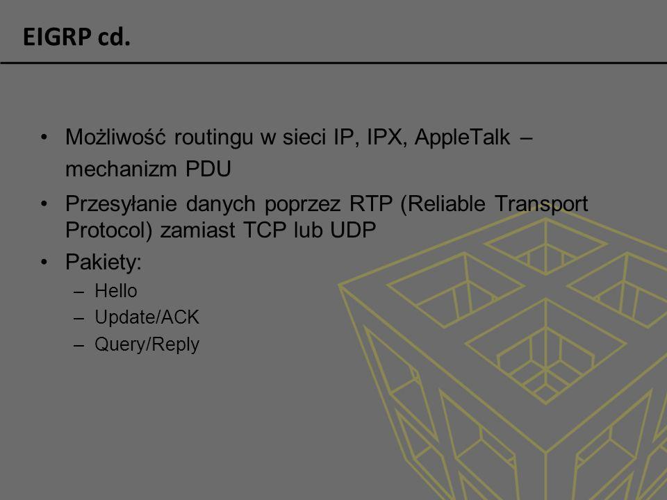 EIGRP cd. Możliwość routingu w sieci IP, IPX, AppleTalk – mechanizm PDU.
