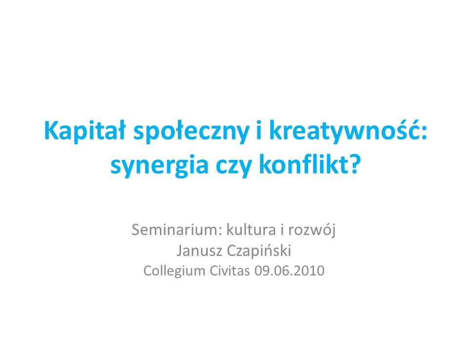 Kapitał społeczny i kreatywność: synergia czy konflikt