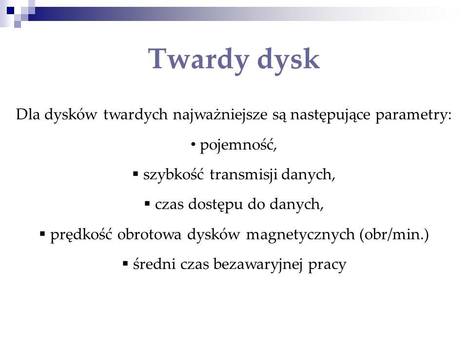Twardy dyskDla dysków twardych najważniejsze są następujące parametry: pojemność, szybkość transmisji danych,
