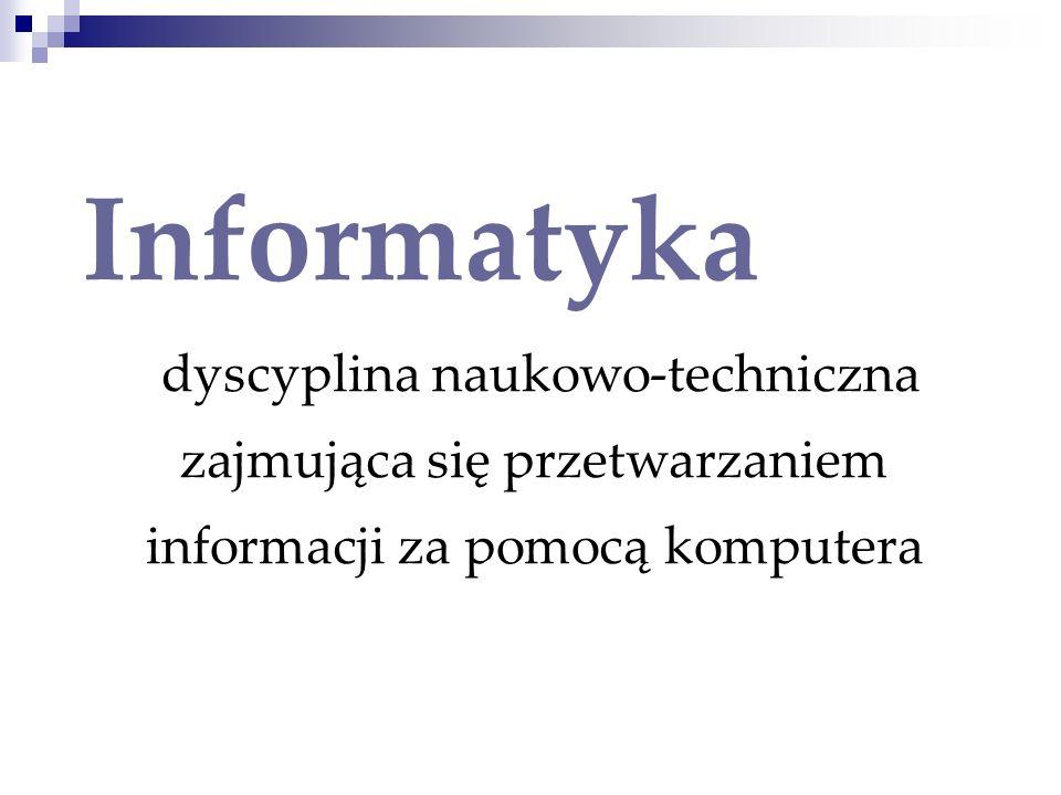 Informatykadyscyplina naukowo-techniczna zajmująca się przetwarzaniem informacji za pomocą komputera.