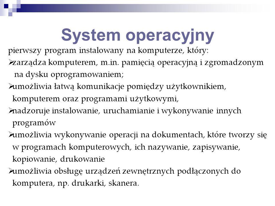 System operacyjny pierwszy program instalowany na komputerze, który: