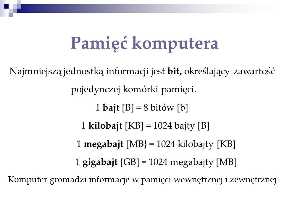 Pamięć komputera Najmniejszą jednostką informacji jest bit, określający zawartość pojedynczej komórki pamięci.