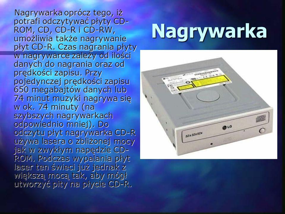 Nagrywarka oprócz tego, iż potrafi odczytywać płyty CD-ROM, CD, CD-R i CD-RW, umożliwia także nagrywanie płyt CD-R. Czas nagrania płyty w nagrywarce zależy od ilości danych do nagrania oraz od prędkości zapisu. Przy pojedynczej prędkości zapisu 650 megabajtów danych lub 74 minut muzyki nagrywa się w ok. 74 minuty (na szybszych nagrywarkach odpowiednio mniej). Do odczytu płyt nagrywarka CD-R używa lasera o zbliżonej mocy jak w zwykłym napędzie CD-ROM. Podczas wypalania płyt laser ten świeci już jednak z większą mocą tak, aby mógł utworzyć pity na płycie CD-R.