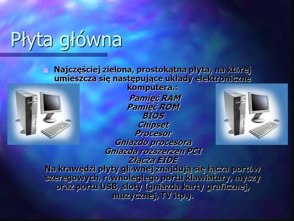 Płyta główna Najczęściej zielona, prostokątna płyta, na której umieszcza się następujące układy elektroniczne komputera.: