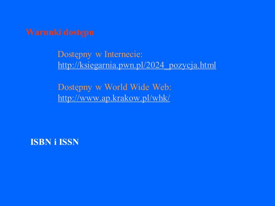 Warunki dostępu v należy podać lokalizację dokumentu w sieci np