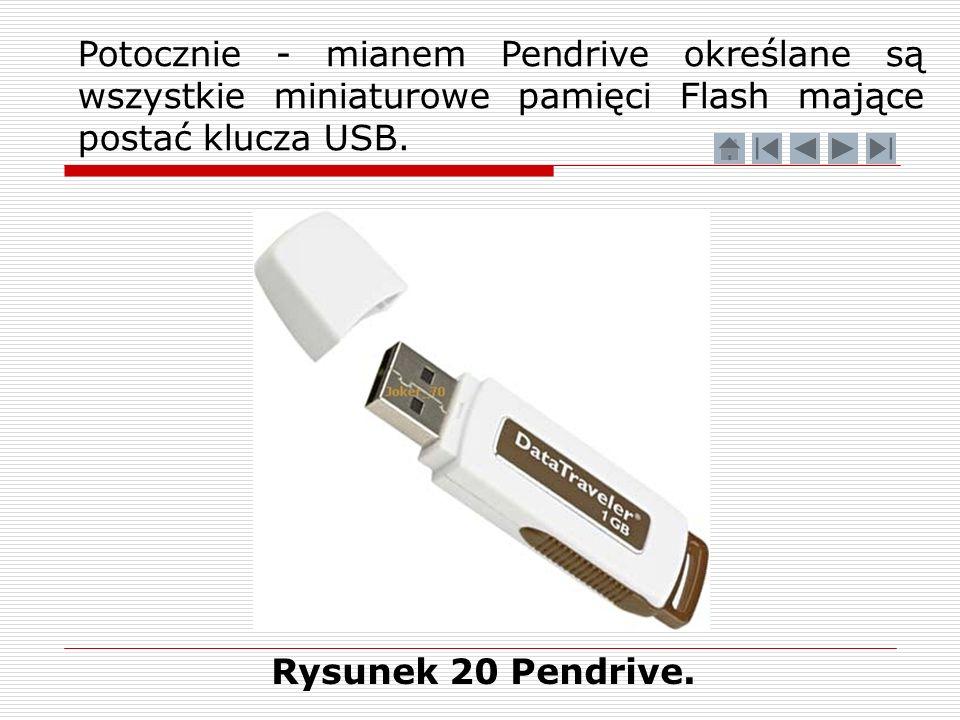 Potocznie - mianem Pendrive określane są wszystkie miniaturowe pamięci Flash mające postać klucza USB.