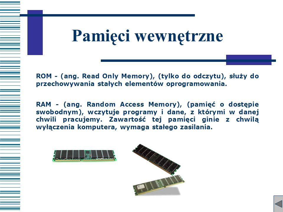 Pamięci wewnętrzne ROM - (ang. Read Only Memory), (tylko do odczytu), służy do przechowywania stałych elementów oprogramowania.