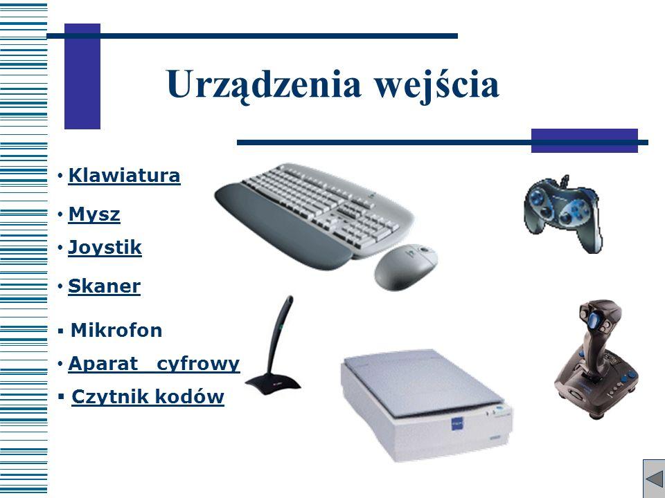 Urządzenia wejścia Klawiatura Mysz Joystik Skaner Aparat cyfrowy