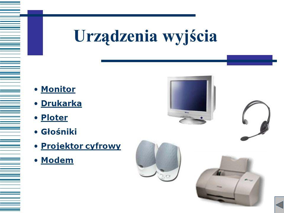 Urządzenia wyjścia Monitor Drukarka Ploter Głośniki Projektor cyfrowy