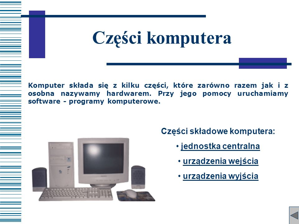 Części składowe komputera: