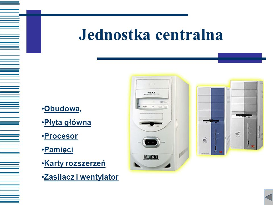 Jednostka centralna Obudowa, Płyta główna Procesor Pamięci