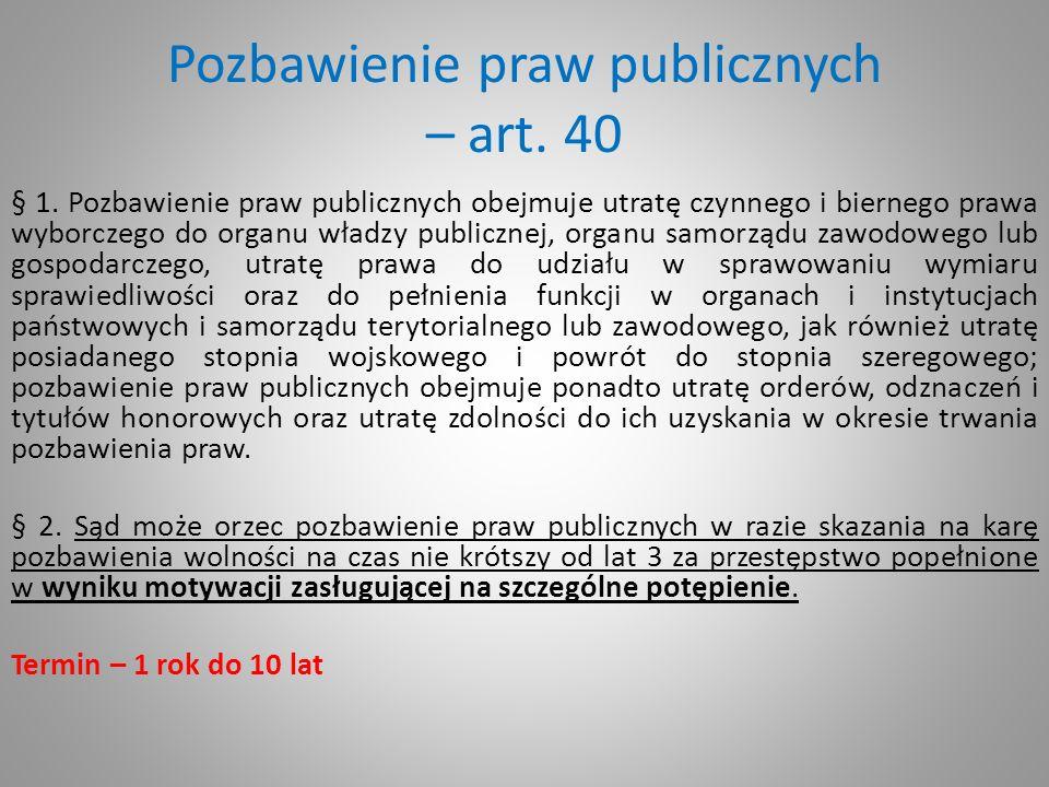 Pozbawienie praw publicznych – art. 40